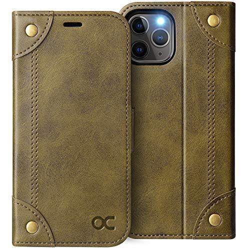 OCASE iPhone 11 Pro MAX Hülle Handyhülle [Premium Leder] [Standfunktion] [Kartenfach] [Magnetverschluss] Tasche Flip Hülle Etui Schutzhülle Leder für Apple iPhone 11 Pro MAX Cover (Kupfer)