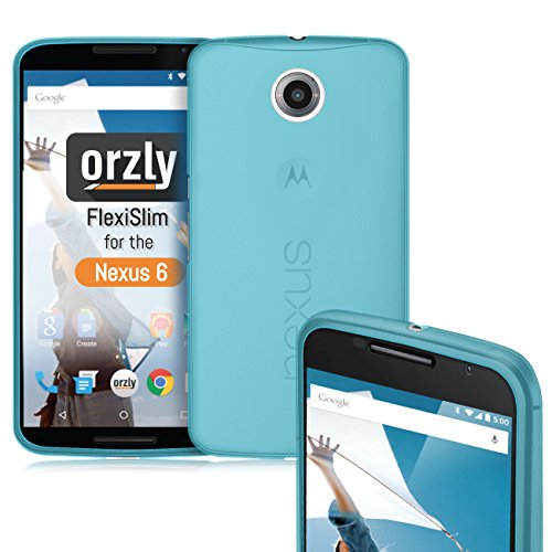 Orzly Nexus 6 Case, FlexiSlim Case for Nexus 6 (2014 Model Google Nexus 6 Smartphone by Motorola) - Super Slim (0.5mm) Protective Phone Cover in Semi Transparent Blue