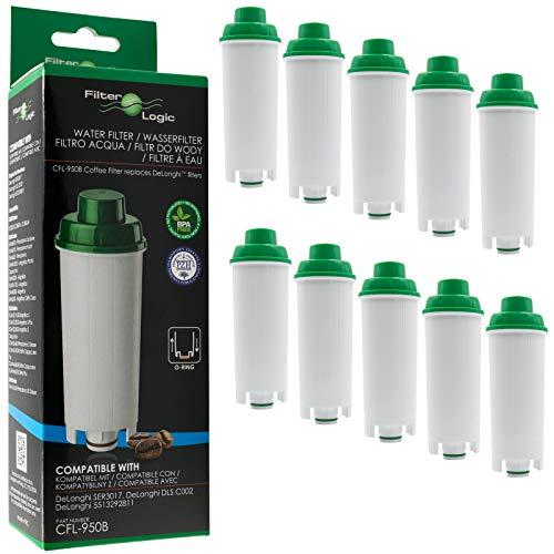 10 x FilterLogic CFL-950B - Filtro de agua para cafetera automática de DeLonghi reemplaza el cartucho DLS C002 / DLSC002 / SER 3017 / SER3017 / 5513292811 con Máquina de café ECAM ESAM ETAM EC680 BCO