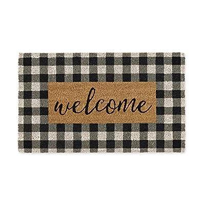 DII Home Natural Coir Doormat, Indoor/Outdoor, 18x30, Checkers Welcome