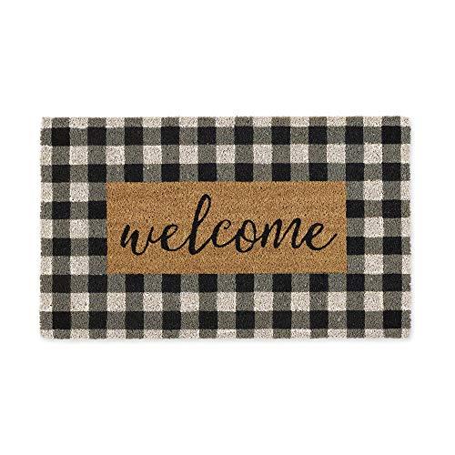 DII CAMZ11552 Home Natural Coir Doormat, Indoor/Outdoor, 18x30, Checkers Welcome