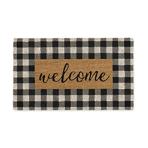 DII Home Natural Coir Doormat, Indoor/Outdoor, 18x30, Checkers Welcome