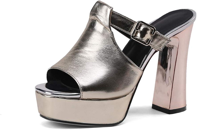T-JULY Summer Women Mules shoes Chunky High Heels shoes Buckle Slip-on Platform Peep-Toe Slipper Woman Pumps