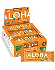 Deal on ALOHA Organic Plant Based Protein Bars |Peanut Butter Chocolate Chip | 12 Count, 1.98oz Bars | Vegan, Low Sugar, Gluten Free, Paleo, Low Carb, Non-GMO, Stevia Free, Soy Free, No Sugar Alcohols