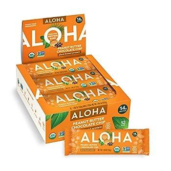ALOHA Organic Plant Based Protein Bars |Peanut Butter Chocolate Chip | 12 Count 1.98oz Bars | Vegan Low Sugar Gluten Free Paleo Low Carb Non-GMO Stevia Free Soy Free No Sugar Alcohols