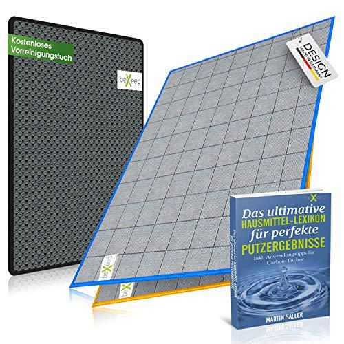 BEXEED 2X Fenstertuch - inkl. Vorreinigungs-Tuch - Innovatives Carbon Fensterputztuch - fusselfreie Glas-Putz-Tücher - garantiert streifenfreie Fenster Scheiben Spiegel Gläser - Poliertuch Waffeltuch