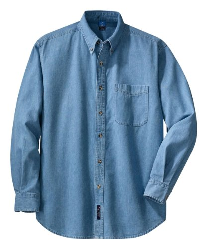 PORT AND COMPANY Long Sleeve Denim Shirt (SP10) Faded Blue, M