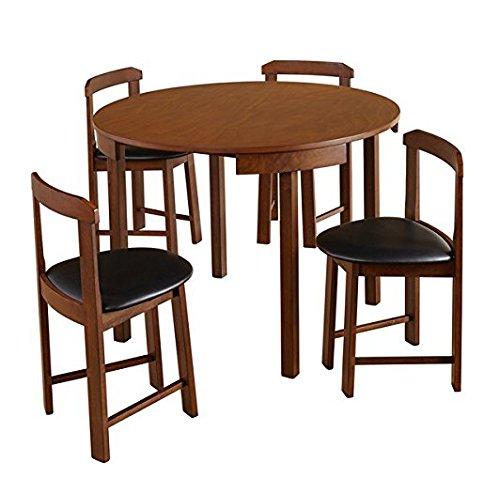 Mid-Century Tobey Juego de comedor compacto de nogal (5 piezas) en asientos tapizados de piel sintética de color negro Sillas anguladas que se ajustan perfectamente al borde de la mesa. Requiere montaje.: