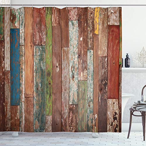 Ambesonne Rustic Shower Curtain, Grunge Style Planks Print...