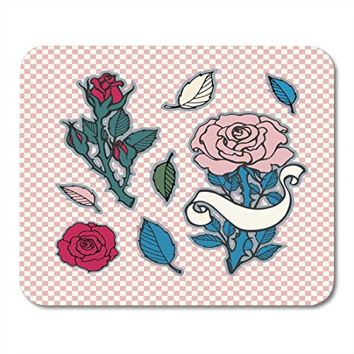 Whecom Mauspad Gaming Colorful Rose Tattoo Sticker Patch Collection Artwork Badges Vintage Branding Black Red Green Dusty Blue Gaming Mauspad for Notebooks,Desktop Computers Office Supplies