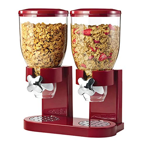 Cheapest Price! Honey-Can-Do Double Cereal Dispenser with Portion Control, Red and Chrome