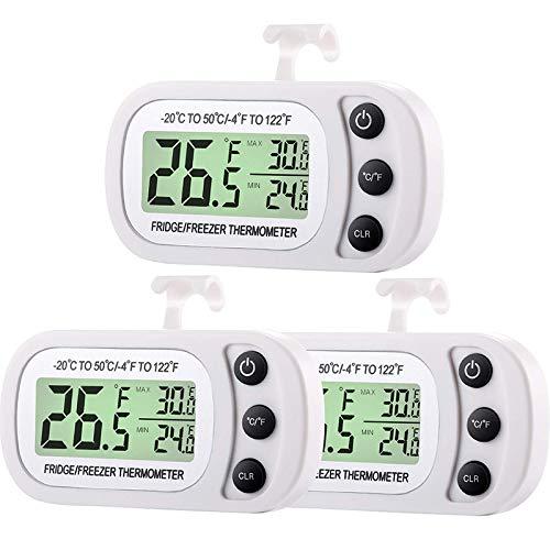 ACAMPTAR Refrigerador Digital Congelador TermóMetro HabitacióN Refrigerador una Prueba de Agua TermóMetro de Temperatura con FuncióN de Registro MáXimo MíNimo Pantalla LCD Grande (3)