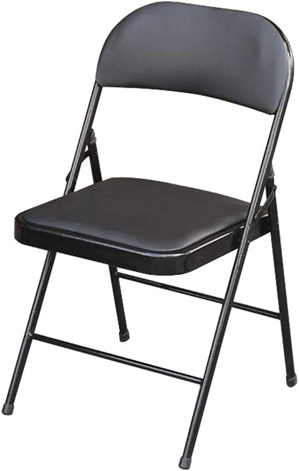 Folding Chair Backrest Computer Chair Office Meeting Iron+Faux Leather Black