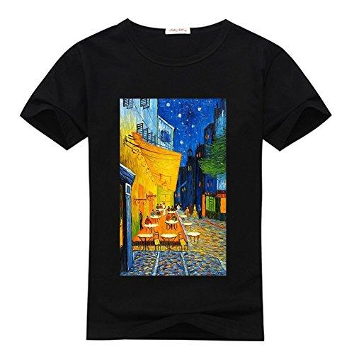 weileDIY Cafe Terrace at Night by Vincent Van Gogh DIY Custom Men's Classic T-Shirt Tshirt