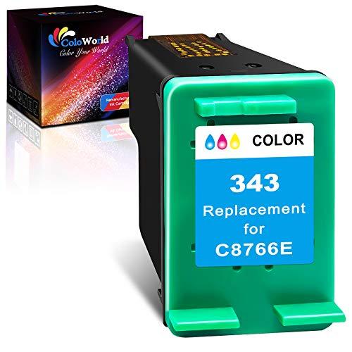ColoWorld Remanufacturados para hp 343 Color Cartuchos de tinta para hp OfficeJet 100 7110 H470 K7100 7210 7310 Photosmart C3180 2575 C4180 C3100 8450 8150 PSC 1510 2510 1610 2355 Impresoras(1Paquete)