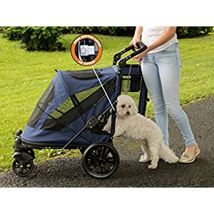 Pet Gear NO-Zip Stroller, Push Button Zipperless Dual Entry, for Single or Multiple Dogs/Cats, Pet Can Easily Walk in/Out, No Need to Lift Pet, Midnight Blue, Large - Push Button Entry (PG8650NZMB)