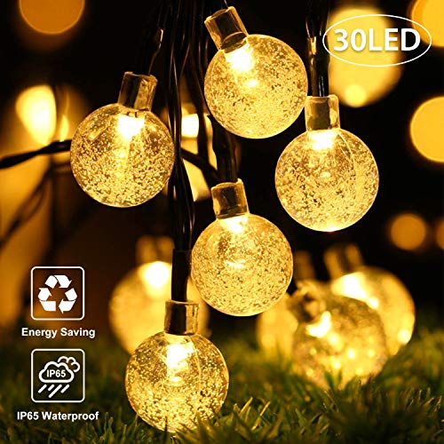 OxyLED Catena Luminosa Solare,30 LED Ghirlanda LED Energia Solare,6m LED Stringa Esterno Impermeabile illuminazione Fata esterno per Natale,Giardino,Portico,Albero,Matrimonio,Festa (Bianco Caldo)