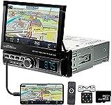 1Din Radio de Coche con Navegación/Pantalla Táctil HD de 7''/Sistema Manos Libres/Bluetooth/USB/AUX/TF,Autoradio con Cámara de Visión Trasera+Control en el Volante+Mando a Distancia
