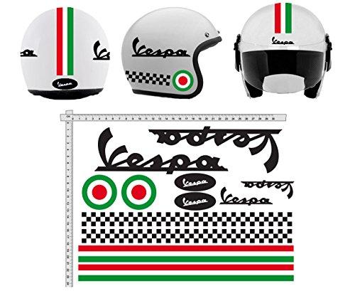 GamesMonkey Pegatinas Casco Kit Casco Vespa Nero NERÓN Italia Vinilo Viny Pulido Motocicletas, Bicicleta, monopatín