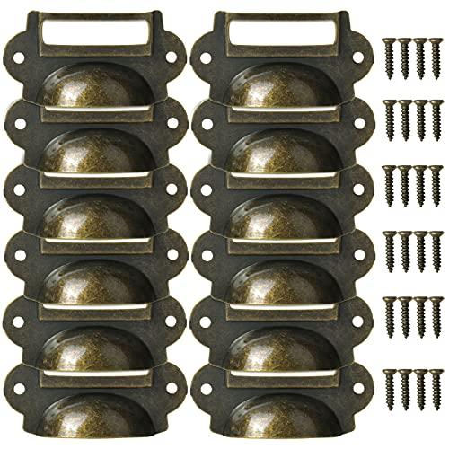Jinlaili 12 Piezas Vintage Bronce Pomos, Tiradores de Muebles, Tiradores de Metal, Pomos Forma de Carcasa, Perilla del Cajón con Empulgueras, Manijas para Puertas Armarios Cajones Cómodas Gabinete