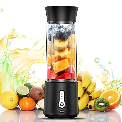 chalvh Portable Blender, 16.9 Oz Personal Blender for Shakes and Smoothies, Fruit Juice Mixer Rechargeable with USB C, Six 3D Blades Mini Blender for Sports, Office, Travel, Gym, and Outdoors(Black)