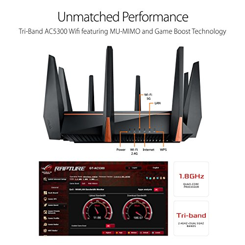 ASUS Gaming Router WiFiUp to Mbps for streaming8 QuadCore Processor Gaming Port Whole Home Mesh System Tapones para los oídos 10 Centimeters Negro (Black)
