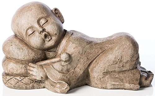 Alfresco Home Sleepy Drummer Buddha Figurine, Antique Brown