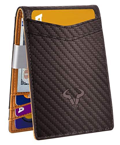 Slim Wallet Money Clip,BULLIANT Mens Front Pocket Wallet For Men 9 Cards 3'x4.25',RFID Blocking,Gift Boxed