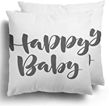 Starowas Throw Pillows Covers Set of 2 Album Word Brush Pen Lettering Phrase Happy Baby Arrival Stuff Birth Boy Polyester Cushion Case Bed Home Decor 18 x 18 Inches
