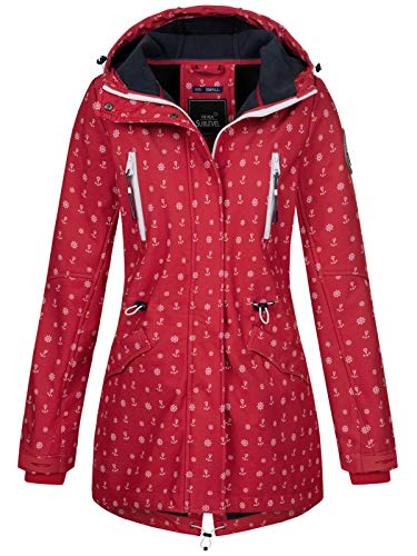 Sublevel Damen Softshell-Jacke Kurzmantel LSL-367 Anker-Alloverprint Middle red L
