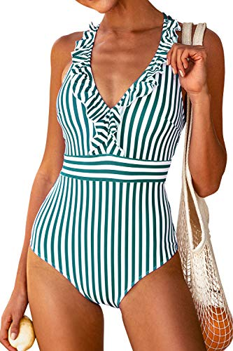 CUPSHE Damen Einteiler Badeanzug Rüschen V Ausschnitt Kreuzgurte Gestreifte Bademode Swimsuit Grün/Weiß M