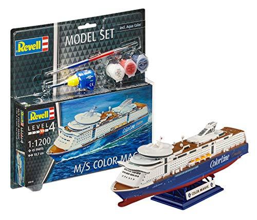 Revell Modellbausatz Schiff 1:1200 - M/S Color Magic im Maßstab 1:1200, Level 4, originalgetreue Nachbildung mit vielen Details, Kreuzfahrtschiff, Model Set mit Basiszubehör, 65818
