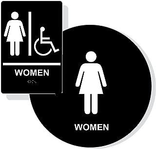 ADA Womens Restroom Sign Paired Set, Braille Sign+Door Sign, ADA Compliant (Black)