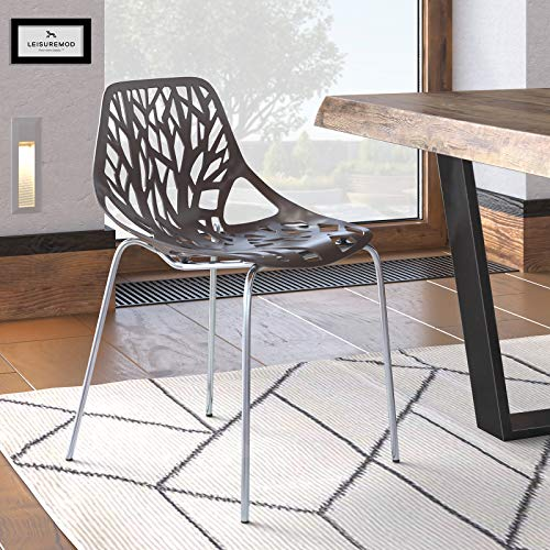 LeisureMod Forest Modern Dining Side Chair with Chrome Legs (Taupe)