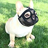 YUESEN Short Snout Dog Muzzle - Adjustable Breathable Mesh Flat Face Dog Muzzle for French Bulldog Pug Shih Tzu for Biting Unwanted Eating Licking Chewing Training (M, Black)