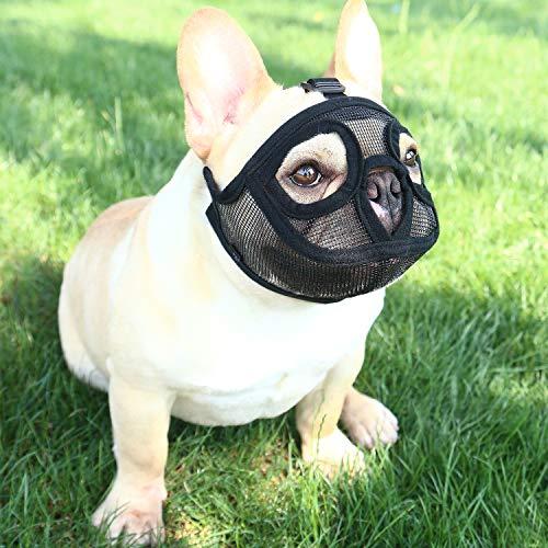 TANDD Short Snout Dog Muzzle - Adjustable Breathable Mesh Bulldog Muzzle/Dog Mask for Barking Biting Chewing Training (XXS, Black(Full Mesh))