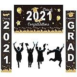 Set de Letreros de Porche de Decoración de Graduación Banner de graduación 2021 Decoracion de Porche de Graduación para Decoración de Interiores y Exteriores Fiesta de Graduación 2021
