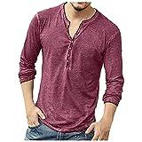 GLZBD 2021 - Camiseta de manga larga para hombre, estilo casual, de verano, delgada, para fiesta, de las peras, oversize Rojo4 M