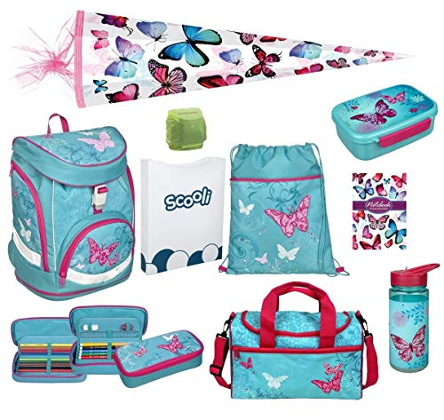 Familando Butterfly Mädchen Schulrucksack-Set 10 TLG. Twixter Up Sporttasche Schultüte 85cm Mädchen-Schulranzen Scooli türkis ab der 1. Klasse
