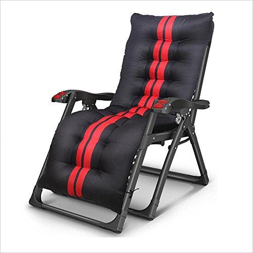 Xiaolin Fauteuil Pliant de déjeuner inclinable Chaise de Bureau Chaise multifonctionnelle Chaise portative de Plage paresseuse (Couleur : Black+Black Red Thick Pad)