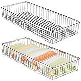 mDesign Set da 2 Porta posate universale in metallo – Organizer per posate da cassetto ideale anche per altri utensili da cucina – Portaposate per cassetti della cucina – cromo