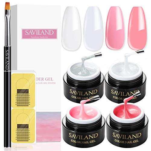 Saviland Builder Gels Nail Kit – 60 g de gel de extensión de uñas rosa desnudo, set de manicura de gel duro con 7 brochas de uñas acrílicas y 100 formas de uñas para principiantes