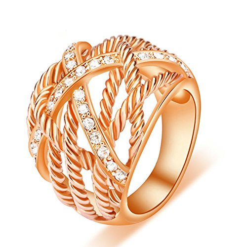 UNY Ring Twisted Cable Wire Weave Designer Fashion Brand David Womens Vintage Valentine...