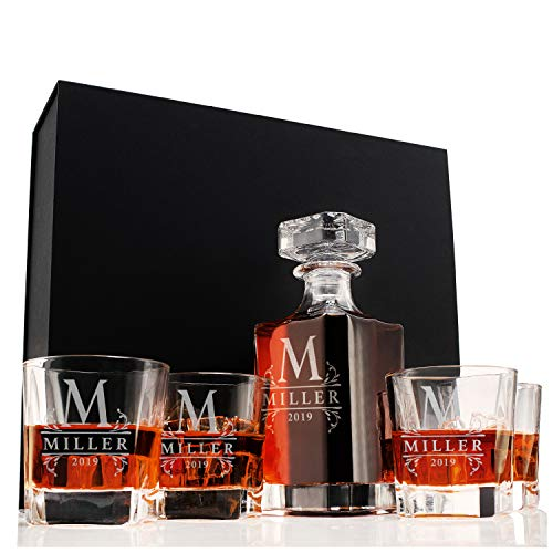 Amazing Items Personalized 5 pc Whiskey Decanter Set - 9 Design Options - Limited Edition Custom Liquor 25 oz, 750ml Liquor Decanter w/ 4pcs Whiskey Glass Set, Gifts for Husband, Retirement Gifts #1