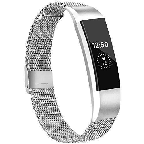IEOVIEE Metal Loop Bands Compatible with Fitbit Alta/Fitbit Alta HR Band, Adjustable Stainless Steel Magnetic Lock Replacement Strap Wristbands for Women Men (Small, 02 Silver)