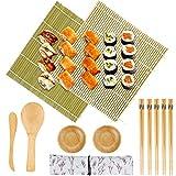 12 PCS Hacer Sushi kit Sushi Maker - 2 Esterilla sushi de Bambú, 2 Platos, 1 Esparcidor de Arroz, 1 Cuchara (Paleta de Arroz), 5 pares de Palillos Sushi con 1 Bolsa para Cocineros y Principiantes
