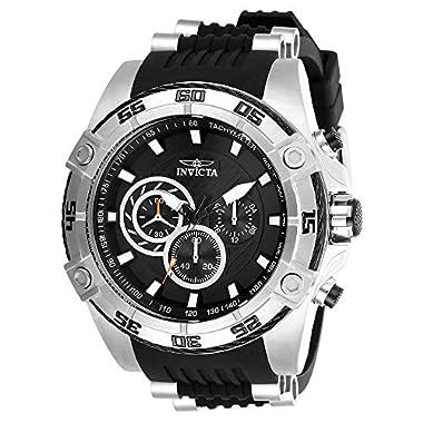 Invicta Men's Speedway Stainless Steel Quartz Watch with Silicone Strap, Black, 26 (Model: 28227)