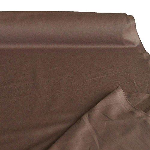 TOLKO Baumwollstoff aus 100% Oeko-Tex Baumwolle | 25 leuchtende Farben Uni | 150cm breit Baumwoll-Nesselstoff als Kleiderstoff Dekostoff Vorhang-Stoff Bezugsstoff Webstoff Meterware 50cm (Braun)