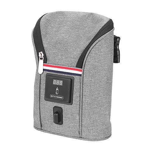 Babyflaschenwärmer Auto SUNJULY Thermotasche Kühltasche für Babyflaschen USB Out Portable Heizung Flaschenwärmer für Outdoor Unterwegs Grau