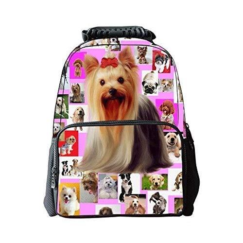Somvierxzb Student Tasche Dreidimensionales Muster Student Niedlich Haustier Hund Schüler Schultaschen Cartoon-Schul Computer-Schulranzen Rucksack-Computer